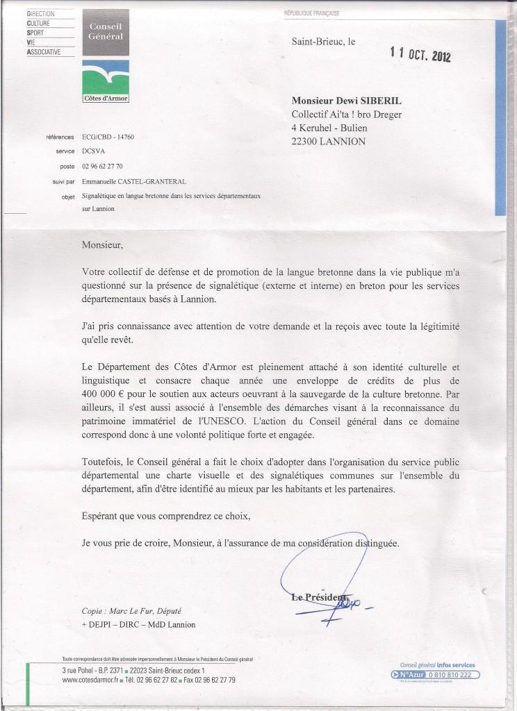 Respont Kuzul departamant 22 - Here 2012 (Ti an departamant)